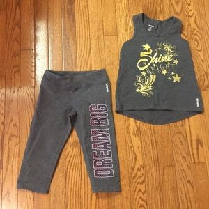 Reebok logo tank top and capri leggings size 6–8